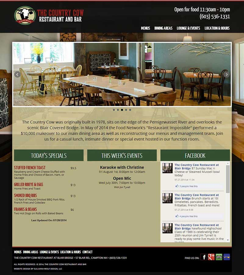 Restaurant Website Campton NH - Covered bridge farm table